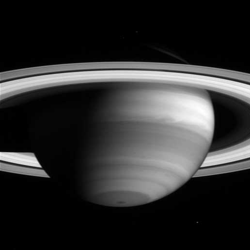 The high clouds of Saturn's bright equatorial band appear to stretch like cotton candy in this image taken by the Cassini narrow angle camera on May 11, 2004.