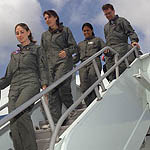 Alissa Kuseske and others unboarding a plane