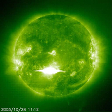 SOHO captured this image of a solar flare in wavelength 195 as it erupted from the sun early on Tuesday, October 28, 2003. This was the most powerful flare measured with modern methods.