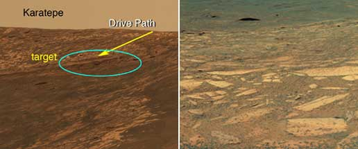 On the left, Opportunity's path into Endurance Crater; on the right,  Opportunity's view looking into Endurance Crater at its target area.