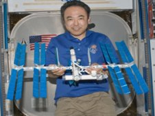 Satoshi Furukawa displays his LEGO® International Space Station model