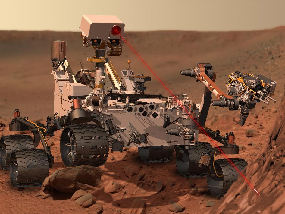 Mars Curiosity Rover, artist's conception of the rover at work on Mars