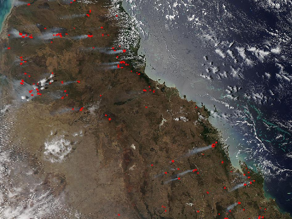 satellite image of fires in Australia