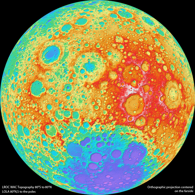 topographical map of the moon