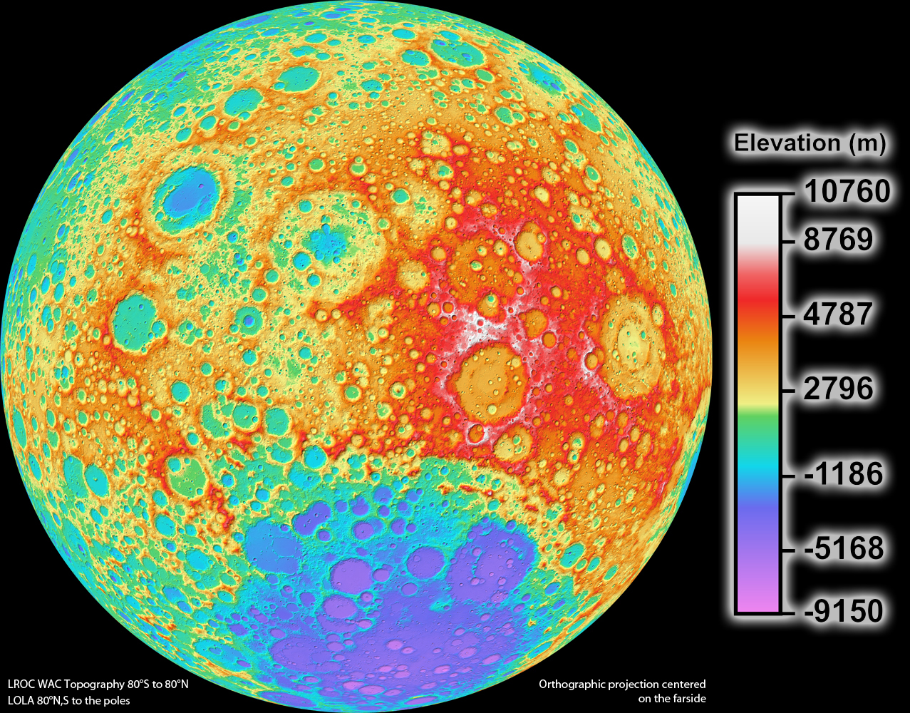 NASA LRO Camera Team Releases High Resolution Global Topographic - Elevation map of usa