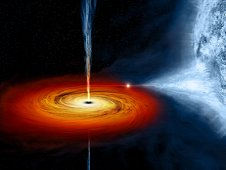 Optical image and concept illustration of stellar mass black hole Cygnus X1