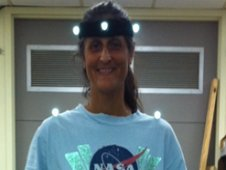 Space station astronaut Sunita Williams participates in a baseline data collection session for the Treadmill Kinematics experiment