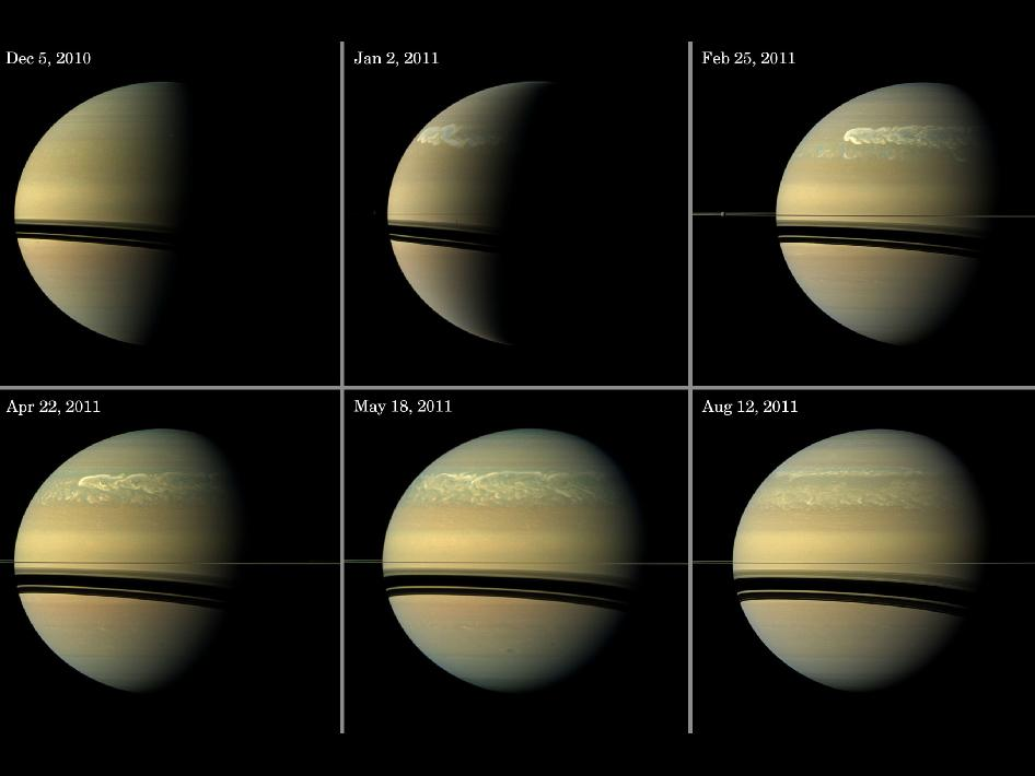 This series of images from NASA's Cassini spacecraft shows the development of the largest storm seen on the planet since 1990