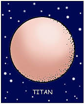 Cartoon drawing of Saturn's moon named Titan
