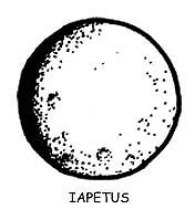 Cartoon drawing of Saturn's moon named Iapetus