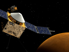 artists concept of Maven orbiting Mars