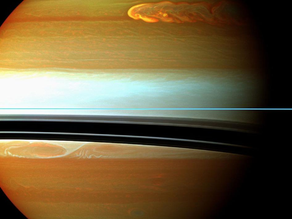 False-color mosaic of Saturn