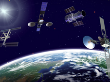 3 TDRS satellites, the ISS and Hubble orbiting the Earth