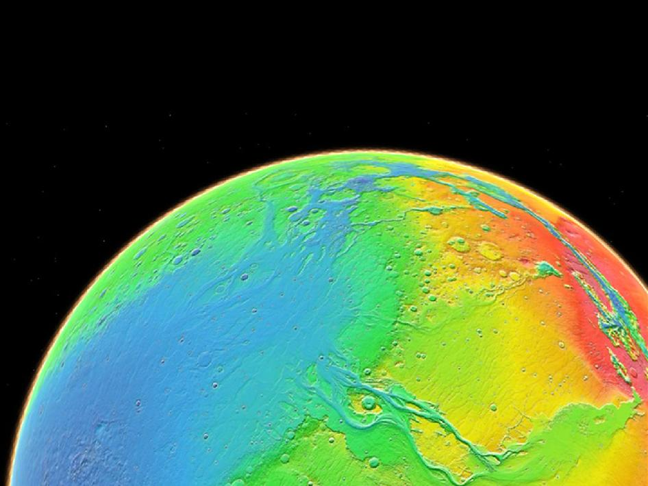 Color coding in this image of Mars represents differences in elevation, measured by the Mars Orbiter Laser Altimeter on NASA's Mars Global Surveyor.