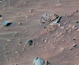 Spirit's panoramic camera took this false-color image of the rock dubbed Pot of Gold.