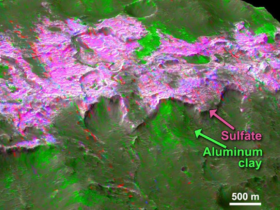 Sulfates are found overlying clay minerals in sediments within Columbus Crater, a depression that likely hosted a lake in the past.