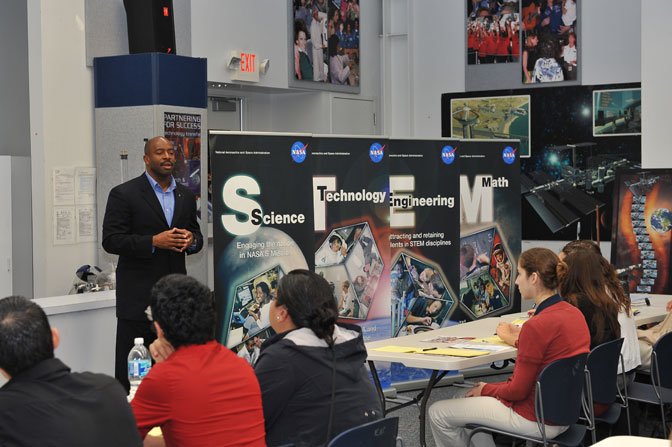 Leland D. Melvin, NASA Associate Administrator for Education and Astronaut, inspires Student Leaders, representing NASAs 13 University Research Centers, to develop their interest in STEM related research through NASAs unique mission, workforce, facilities, research and innovations.