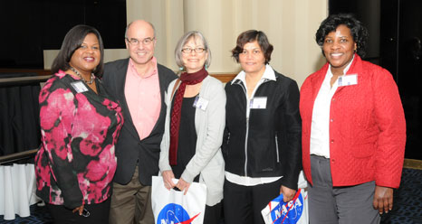 Katrina Emery, NASA URC Program Manager; Dr. Noureddine Melikichi, Delaware State University Principal Investigator; Janie Nall, NASA Center Technical Officer; Dr. Renu Tripathi and Jacqueline Jones, from Delaware State University.