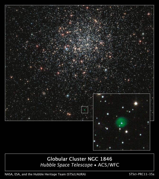 Hubble image of globular cluster NGC 1846 and a planetary nebula