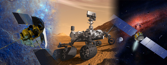 Artist concept of NASA's MESSENGER, Mars Science Laboratory and Dawn missions