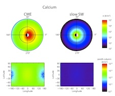 Simulation of calcium exosphere during CME