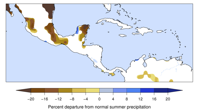 map of pre-Columbian precipitation decline in Central America