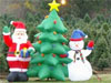 Two images: Inflated Santa, Christmas tree and snowman. Rows of planted evergreen trees