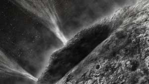 Artist's concept depicting a view of comet Wild 2 as seen from NASA's Stardust spacecraft.