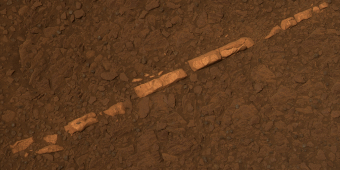 Color view of a mineral vein called 'Homestake' near the edge of Endeavour Crater