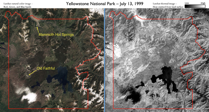 true color and thermal images of Yellowstone National Park