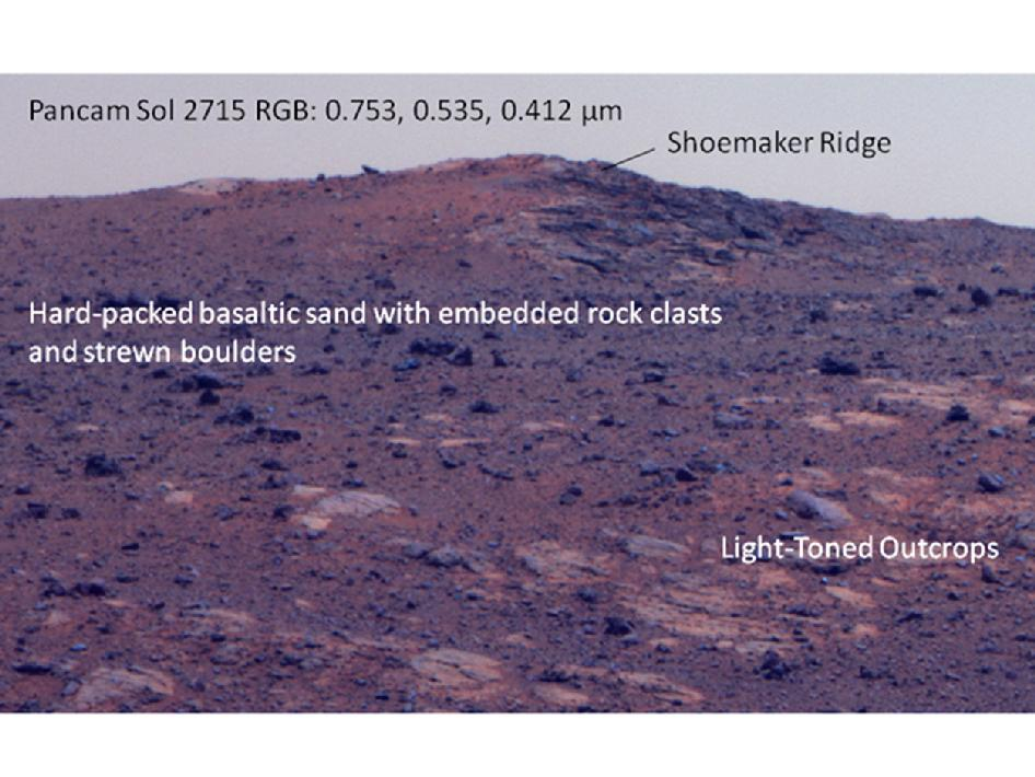 'Shoemaker Ridge' on Endeavour rim (False color)