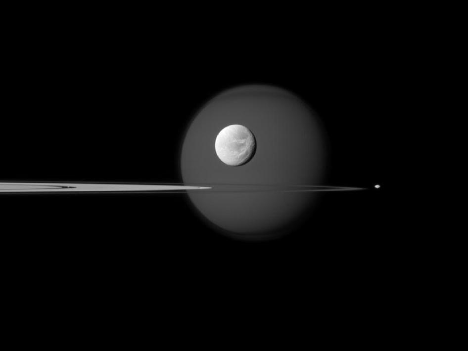 A quartet of Saturn's moons