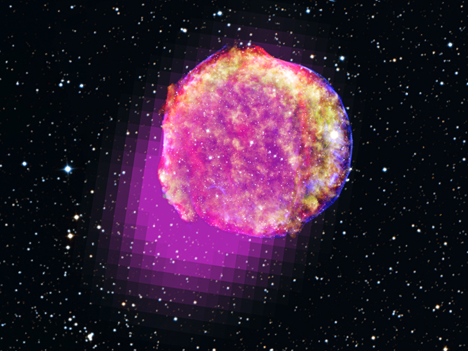 This portrait of Tycho's supernova includes gamma rays (magenta), X-rays (yellow, green, and blue), infrared (red) and optical data.