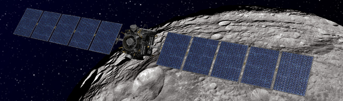 Artist's concept shows NASA's Dawn spacecraft orbiting the giant asteroid Vesta