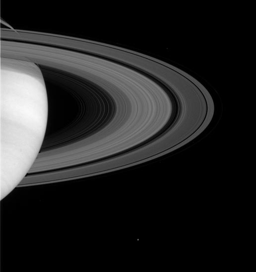 Saturn's magnificent rings show some of their intricate structure in this image taken on May 11, 2004, by the Cassini spacecraft's narrow angle camera