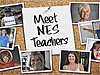 Teacher photographs pinned to a cork board