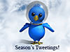 A cartoon bird wearing a space helmet above the words Season's Tweetings!