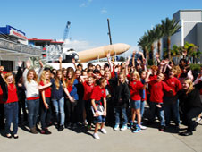 A large group of students at the Kennedy Space Center Visitor Complex