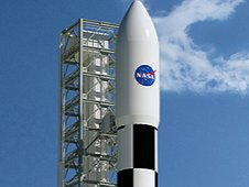 Artist concept of Space Launch System on launchpad