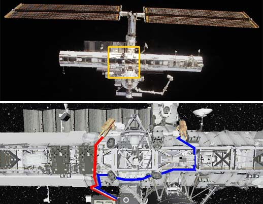 This graphic depicts the worksite at the S0 Truss for the Expedition 9 spacewalk.