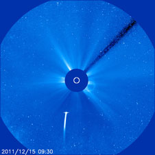An image of Comet Lovejoy as it moves ever closer toward the sun taken on December 15, 2011 at 4:30 AM ET.