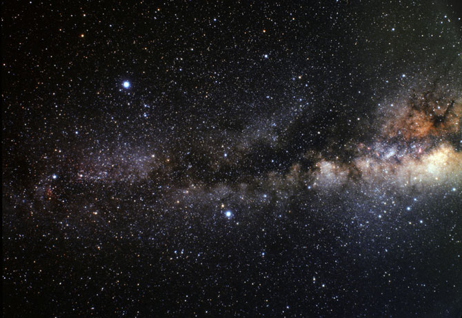 Thick dust clouds block our night-time view of the Milky Way, creating what is sometimes called the Dark Rift.