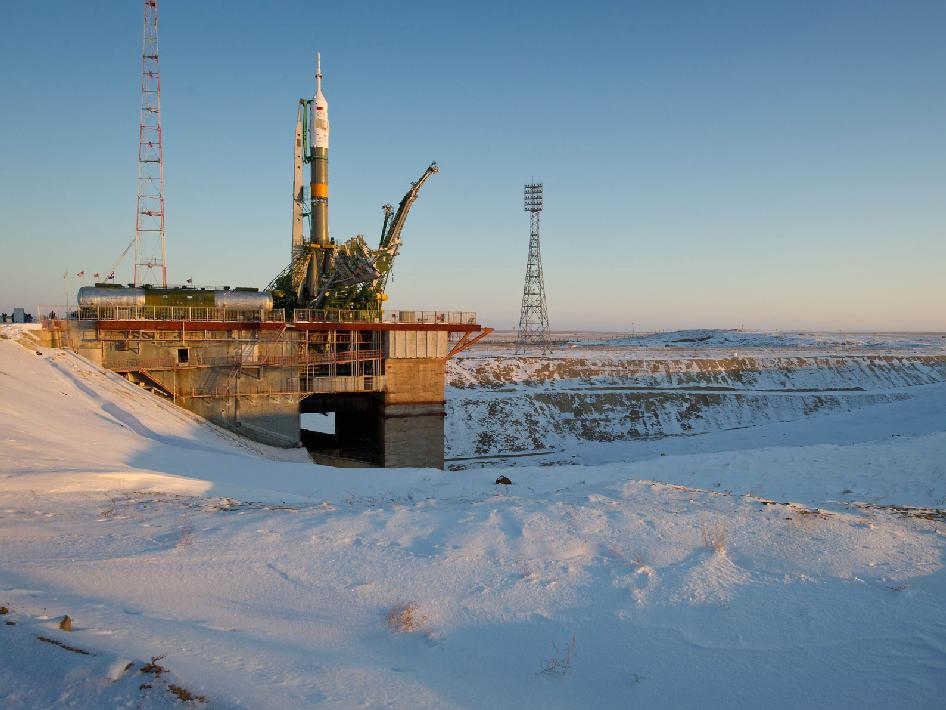 The Soyuz TMA-03M spacecraft is seen at the launch pad