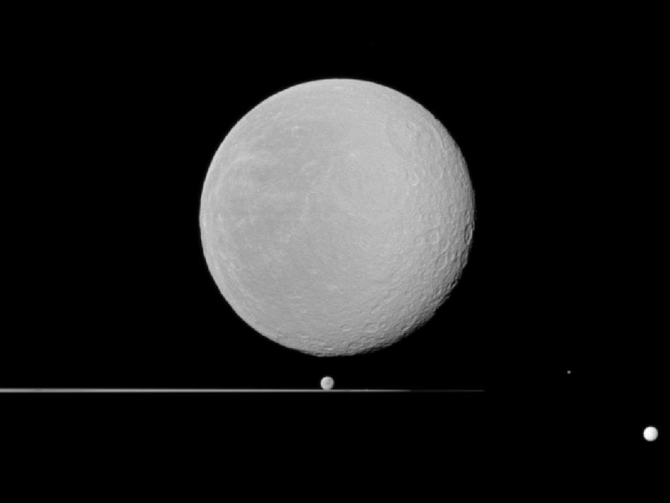 Rhea and four other Saturn moons