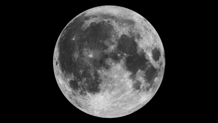 Mosaic of the near side of the moon as taken by the Clementine star trackers.