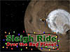 Image of Mars with the words Sleigh Ride Over Mars surrounded in Christmas lights