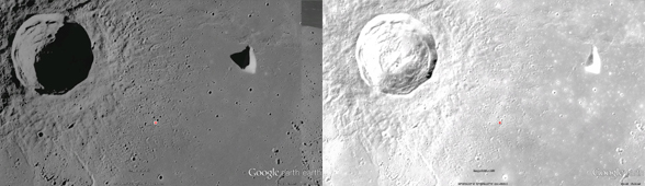 a comparison of a one-camera image of the moon and a composite image of multiple lighting situations