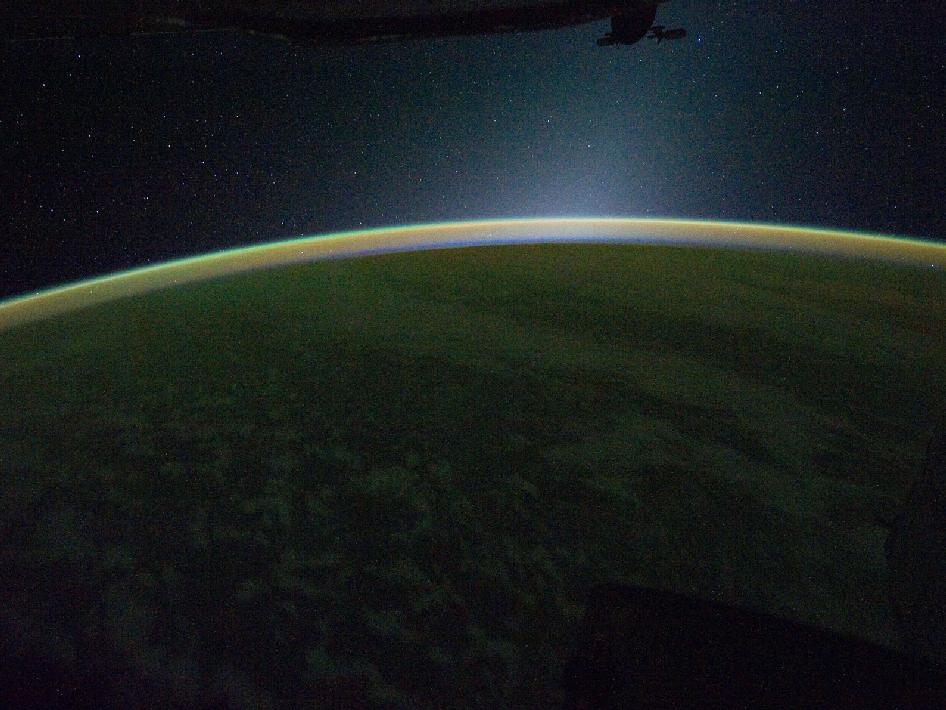 This is a panoramic view of Earth's atmospheric limb photographed by an Expedition 30 crew member aboard the International Space Station. Photo courtesy of NASA.