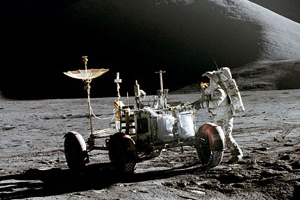 Jim Irwin with Apollo 15 rover