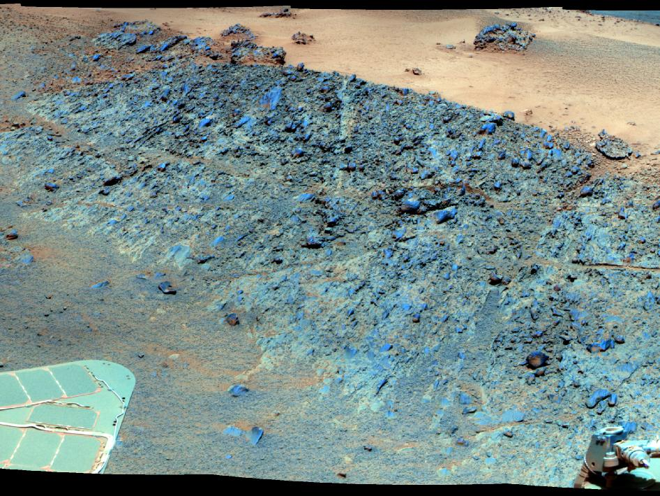 This mosaic was acquired by the Mars Exploration Rover Opportunity's Panoramic Camera (Pancam) on Sol 2793 (Dec. 2, 2011).
